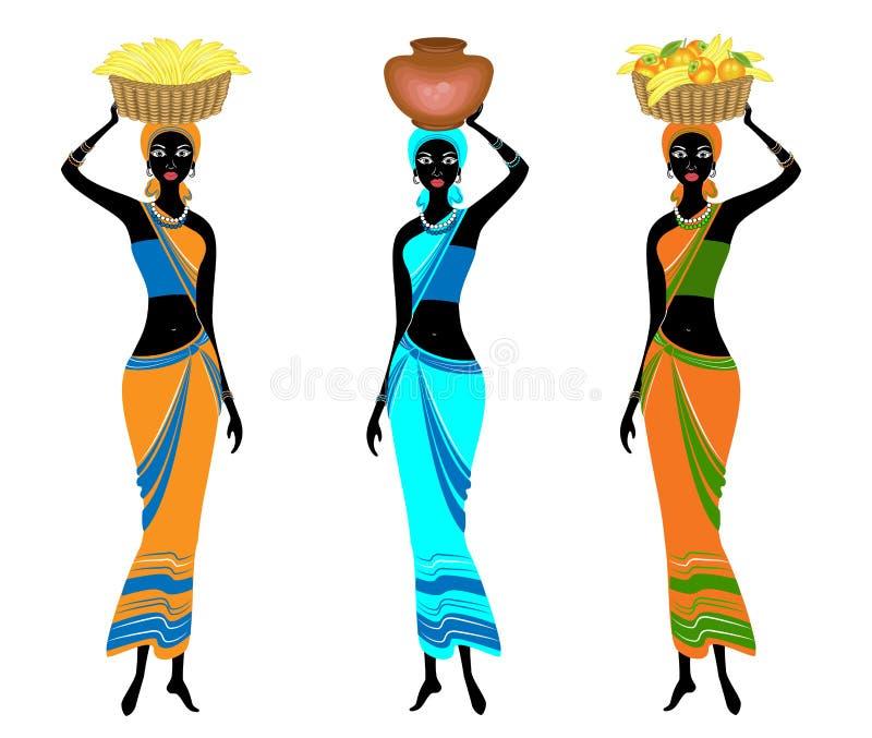 colecci?n Señoras afroamericanas hermosas delgadas La muchacha lleva una cesta en su cabeza con los plátanos, naranjas, caquis y stock de ilustración
