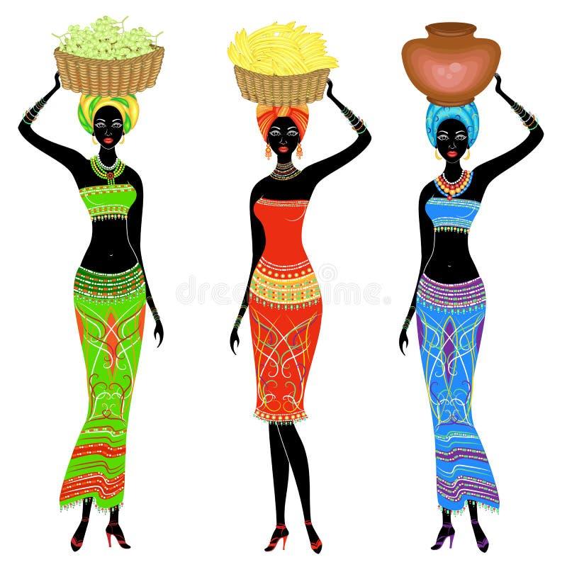 colecci?n Una se?ora afroamericana delgada La muchacha lleva una cesta en su cabeza con las uvas, plátanos, potes Las mujeres son ilustración del vector