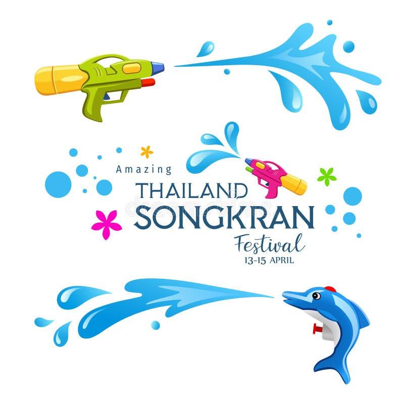 Colecciones coloridas del chapoteo del arma y del agua del festival asombroso feliz de Songkran Tailandia stock de ilustración