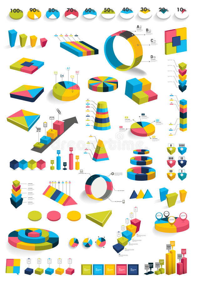 Colecciones de diagramas del diseño del infographics 3D ilustración del vector