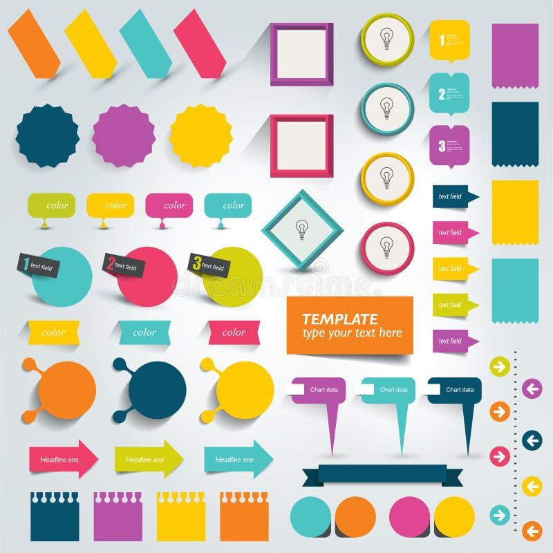 Colecciones de elementos planos del diseño de los gráficos de la información stock de ilustración