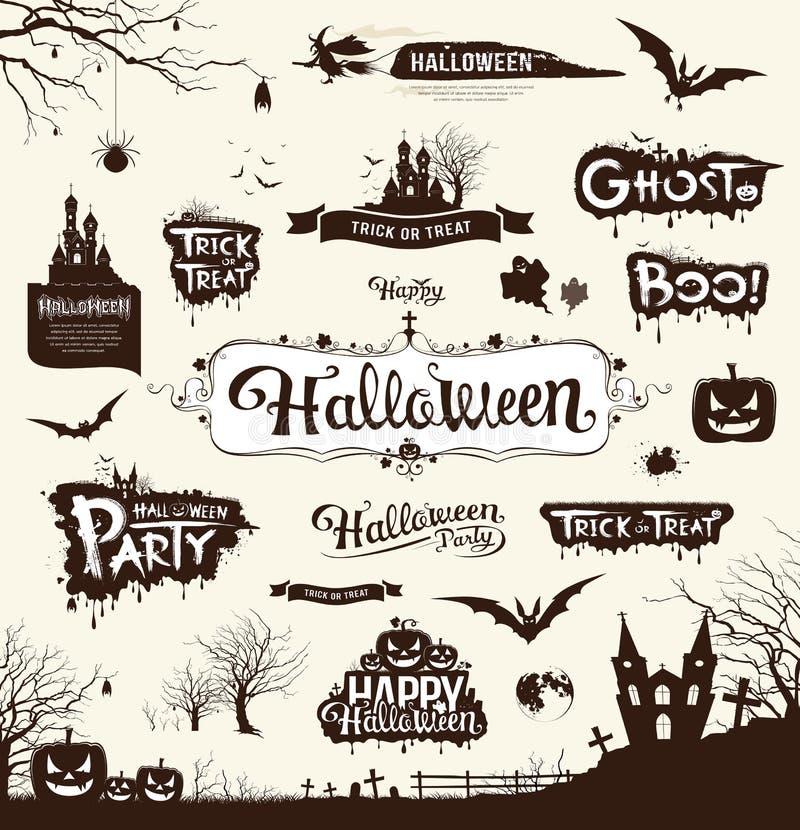 Colecciones de la silueta del día del feliz Halloween ilustración del vector