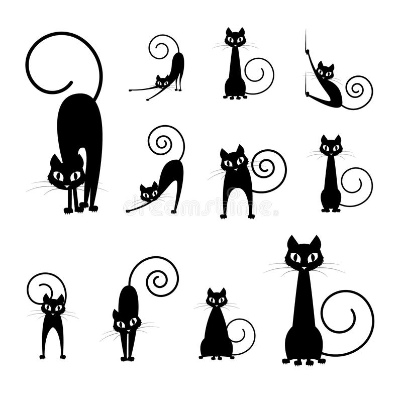 Colecciones de la silueta del gato negro fotografía de archivo libre de regalías