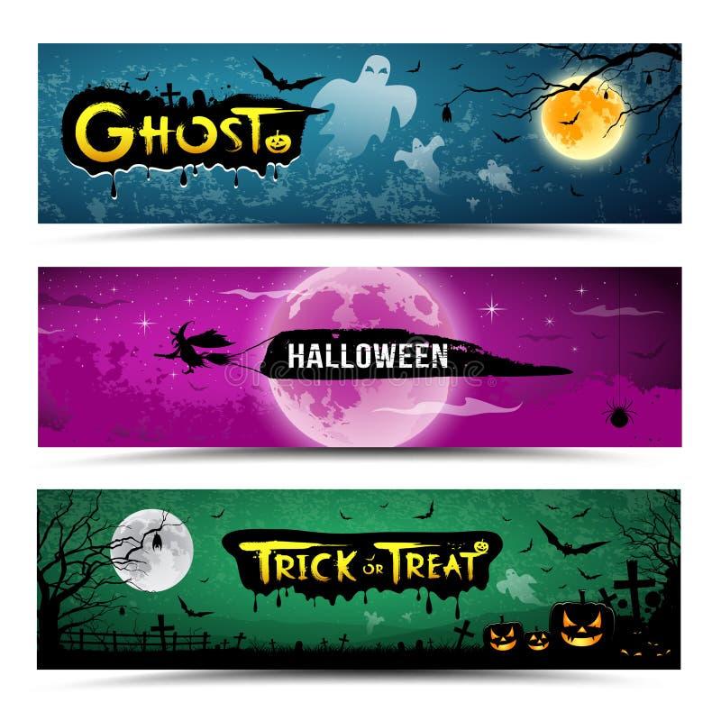 Colecciones de las banderas del feliz Halloween stock de ilustración