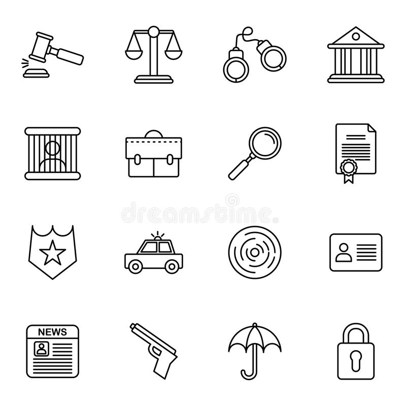 Colecciones de los iconos de la ley y de la justicia ilustración del vector