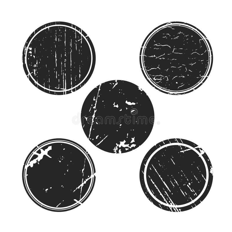 Colecciones del círculo del efecto del Grunge Banderas, insignias, logotipos, iconos, etiquetas e insignias fijados texturas de l ilustración del vector