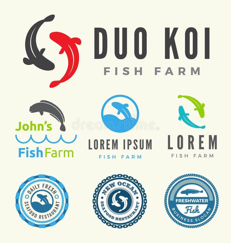 Colecciones del logotipo de la granja de pescados stock de ilustración