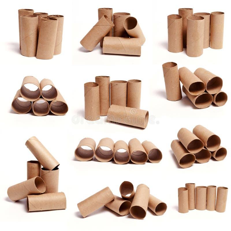 Colecciones del tubo del papel higiénico foto de archivo