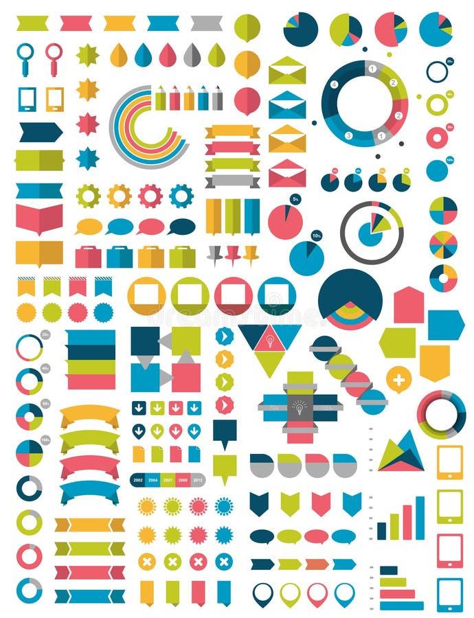 Colecciones grandes de elementos planos del diseño del infographics stock de ilustración