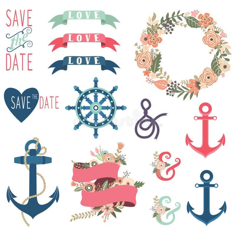 Colecciones náuticas de la boda de la flor stock de ilustración