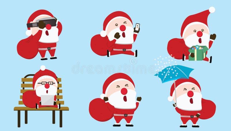 Colecciones Santa Claus que usa la tecnología del futuro virtual de Vr de los smartphones Y un ordenador portátil en un fondo azu ilustración del vector