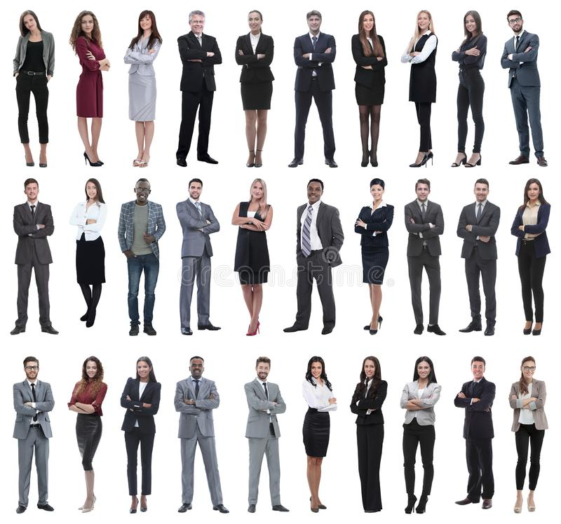 Colection of full length people. Set of business people isolated on white royalty free stock photos