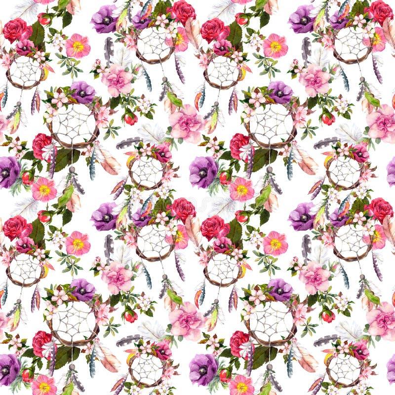 Colector ideal, flores, plumas Modelo inconsútil watercolor foto de archivo libre de regalías