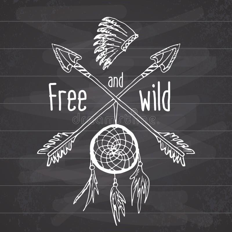 Colector ideal y flechas cruzadas, leyenda tribal en estilo indio con el headgeer tradicional dreamcatcher con las plumas de pája libre illustration