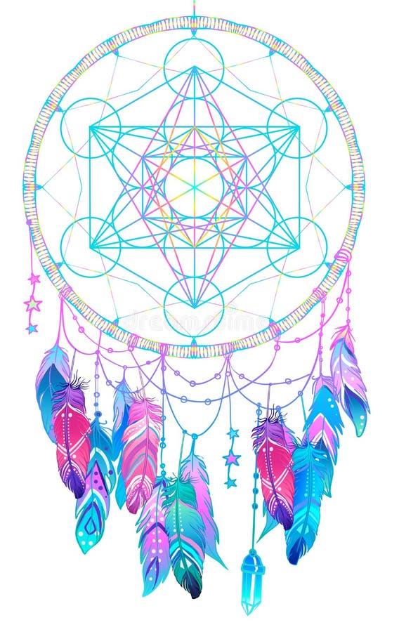 Colector indio del sueño del talismán del nativo americano con Metatrons Cub ilustración del vector