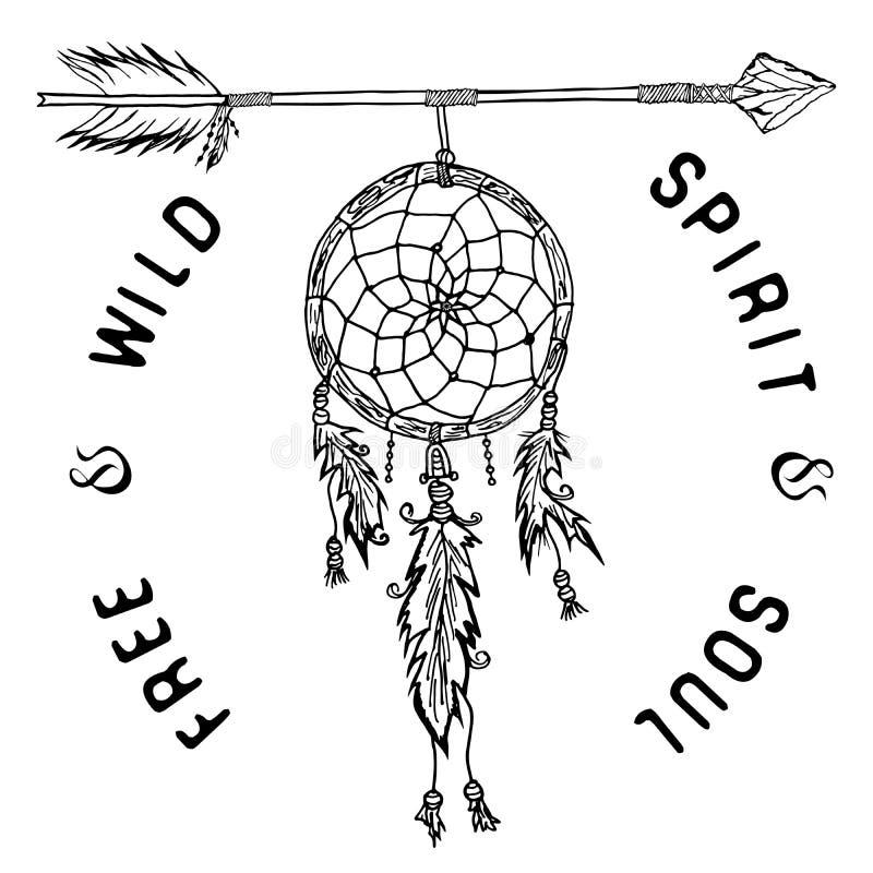 Colector y flecha ideales, leyenda tribal en estilo indio con el sombrero tradicional stock de ilustración