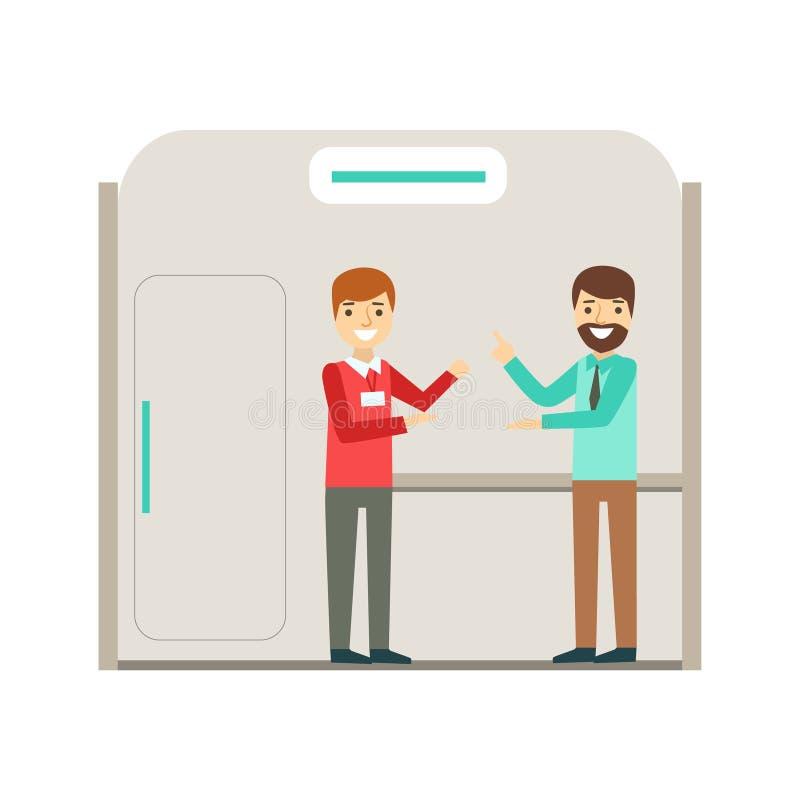 Coleeagues que charla en rotura, Coworking en atmósfera informal en el ejemplo moderno de Infographic de la oficina conceptora libre illustration