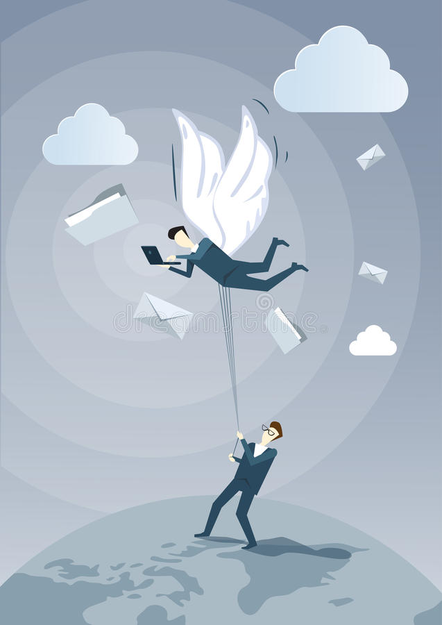 Colega da posse do homem de negócio com as asas que voam no céu usando o laptop que conversa em linha ilustração stock