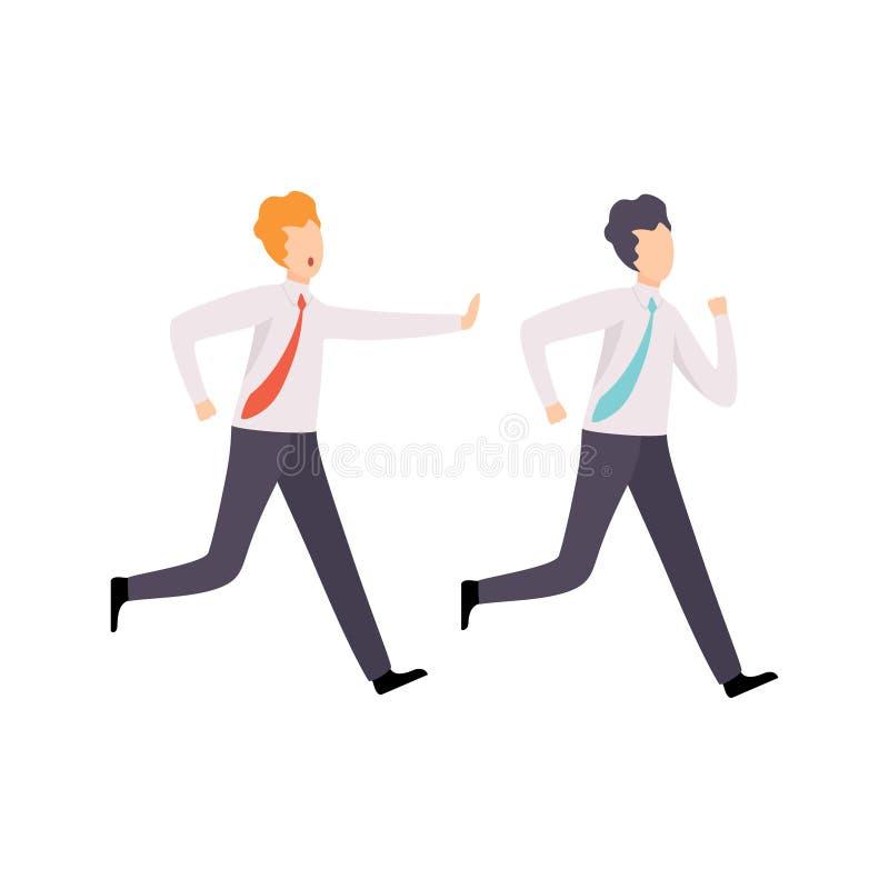 Colega de Catching Up Running del hombre de negocios, competencia del negocio, rivalidad entre el ejemplo del vector de los ofici libre illustration