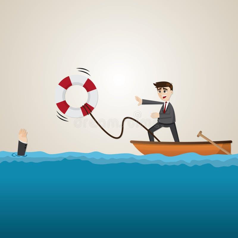 Colega de equipa de ajuda do homem de negócios dos desenhos animados com boia salva-vidas ilustração do vetor
