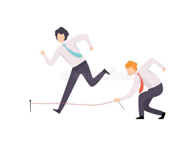 Colega envidioso de Tripping His Successful del hombre de negocios, competencia del negocio, rivalidad entre los colegas, oficini ilustración del vector