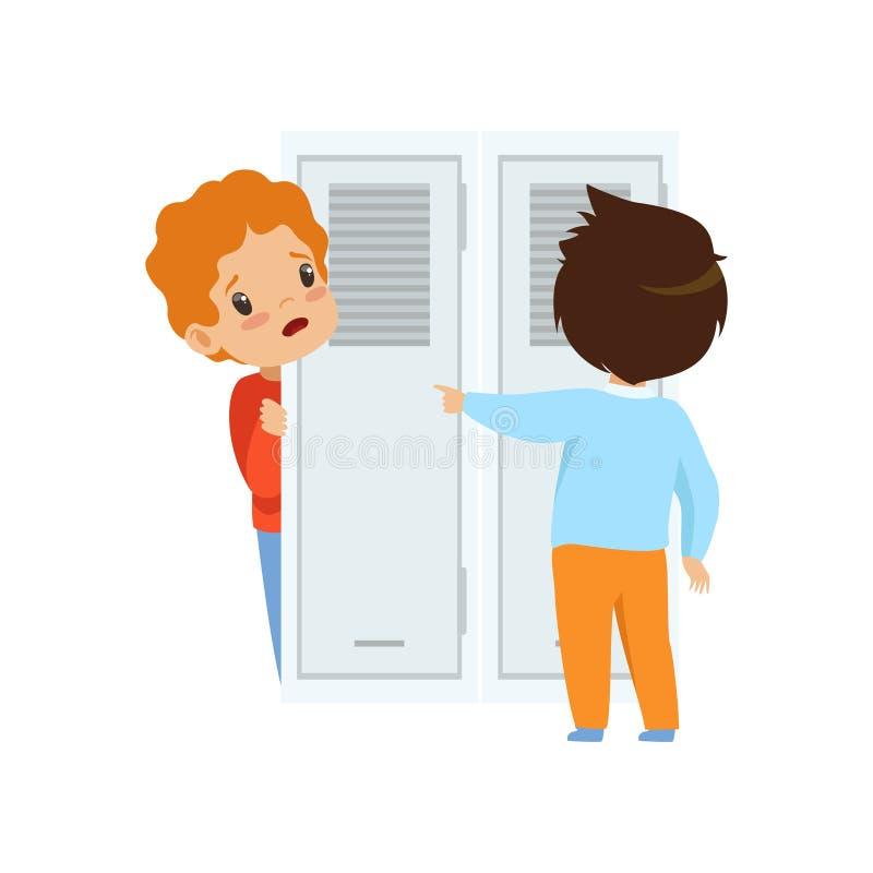 Colega que zomba um menino que que esconde atrás da porta, comportamento mau, conflito entre crianças, zombaria e tiranizando na  ilustração stock