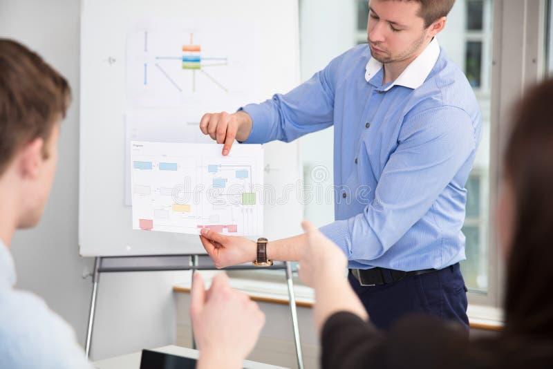 Colegas de Showing Chart To do homem de negócios no escritório fotografia de stock royalty free