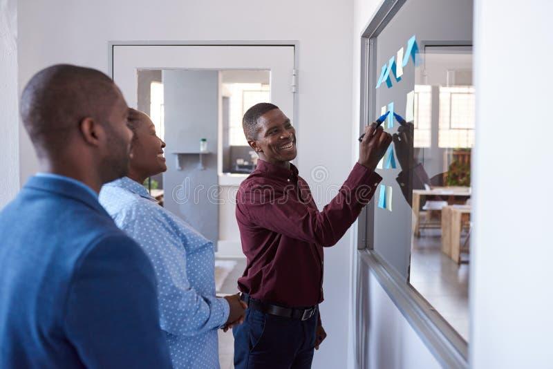 Colegas de trabalho africanos de sorriso que strategizing com notas pegajosas em um escritório fotos de stock