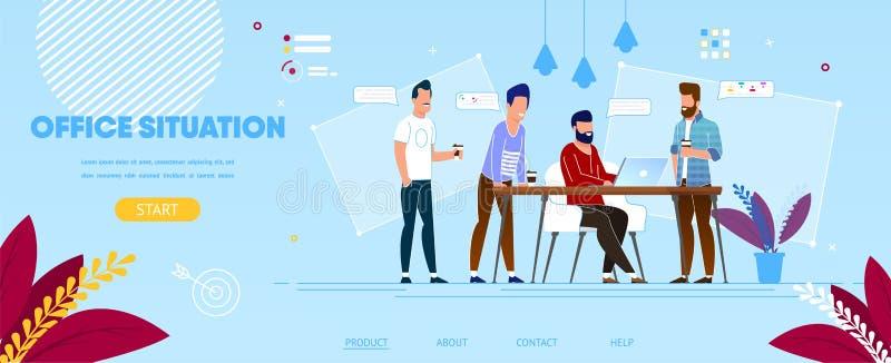 Colegas del negocio en el proceso de trabajo en oficina libre illustration