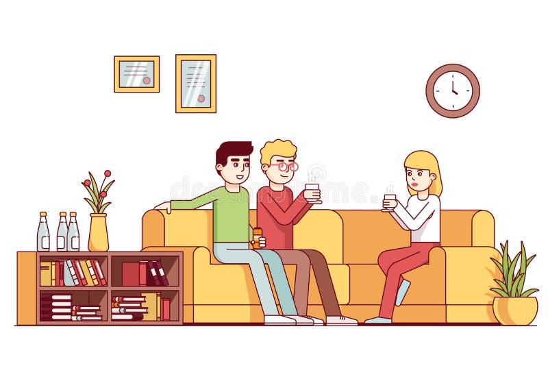 Colegas del negocio que toman el descanso para tomar café junto stock de ilustración