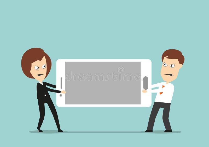 Colegas do negócio que lutam sobre o smartphone ilustração stock