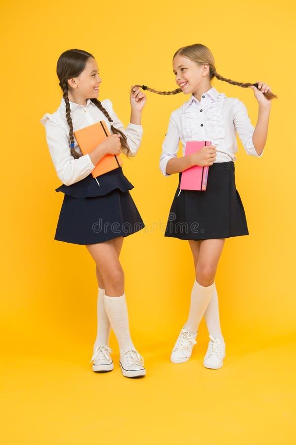 Colegas dos melhores amigos das crianças Amizade da escola Objetivos da amizade Meninas bonitos da escola com livros Primeiro dia imagens de stock