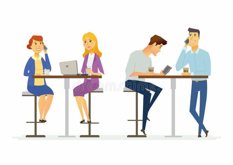 Colegas em uma pausa para o almoço - ilustração moderna dos caráteres dos povos dos desenhos animados ilustração stock