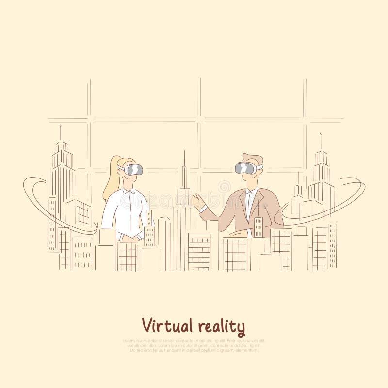 Colegas em vidros do vr que discutem o projeto arquitetónico, holograma da cidade, coworking futurista, bandeira da realidade vir ilustração do vetor