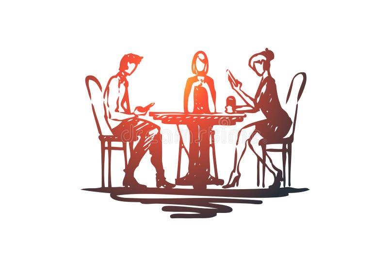 Colegas, empregados, conceito dos amigos Ilustração isolada esboço tirada mão ilustração stock