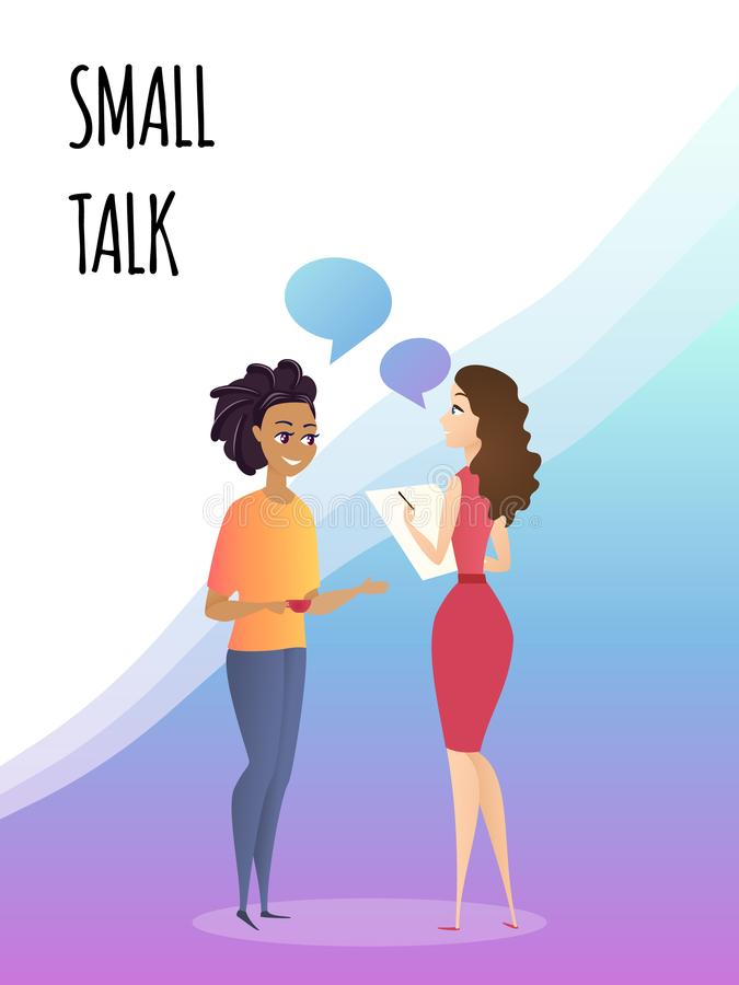 Colegas fêmeas de fala na conversa de circunstância do escritório ilustração royalty free