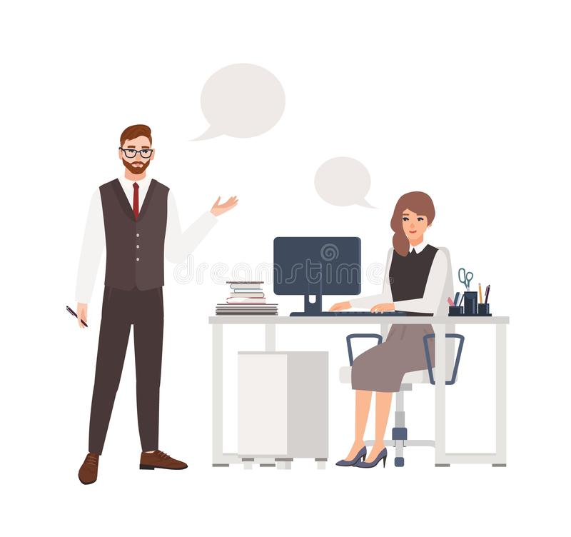 Colegas o empleados que hablan el uno al otro Var?n y oficinistas o vendedores femeninos que se colocan y que se sientan en silla ilustración del vector