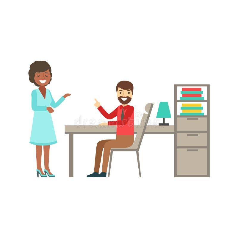 Colegas que charlan, Coworking del hombre y de la mujer en atmósfera informal en el ejemplo moderno de Infographic de la oficina  stock de ilustración
