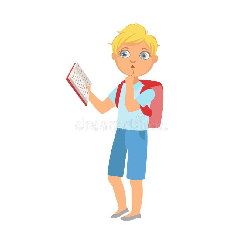 Colegial con la lectura derecha de la mochila un libro, parte de niños que aman leer serie de los ejemplos del vector ilustración del vector