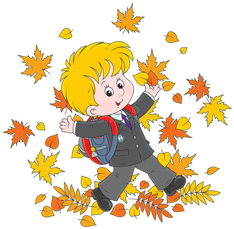 Colegial con las hojas de otoño libre illustration