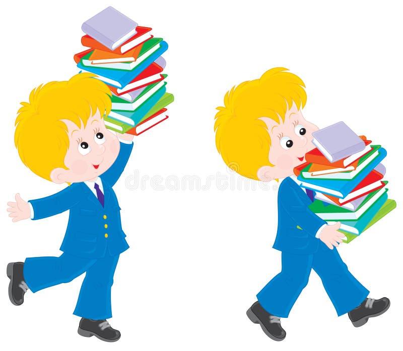 Colegial con los libros de texto ilustración del vector