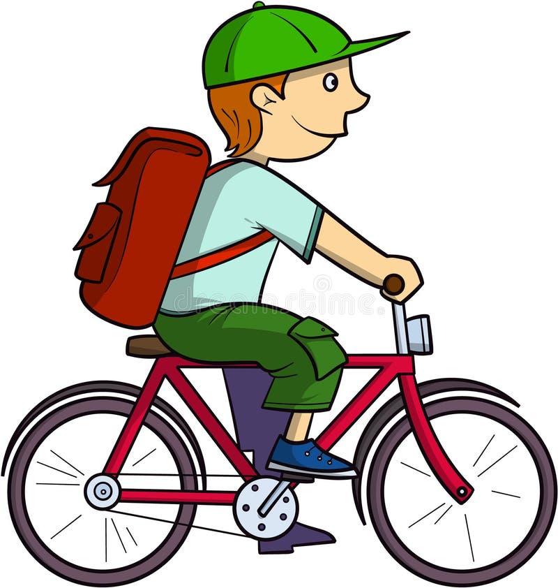 Colegial en una bici stock de ilustración