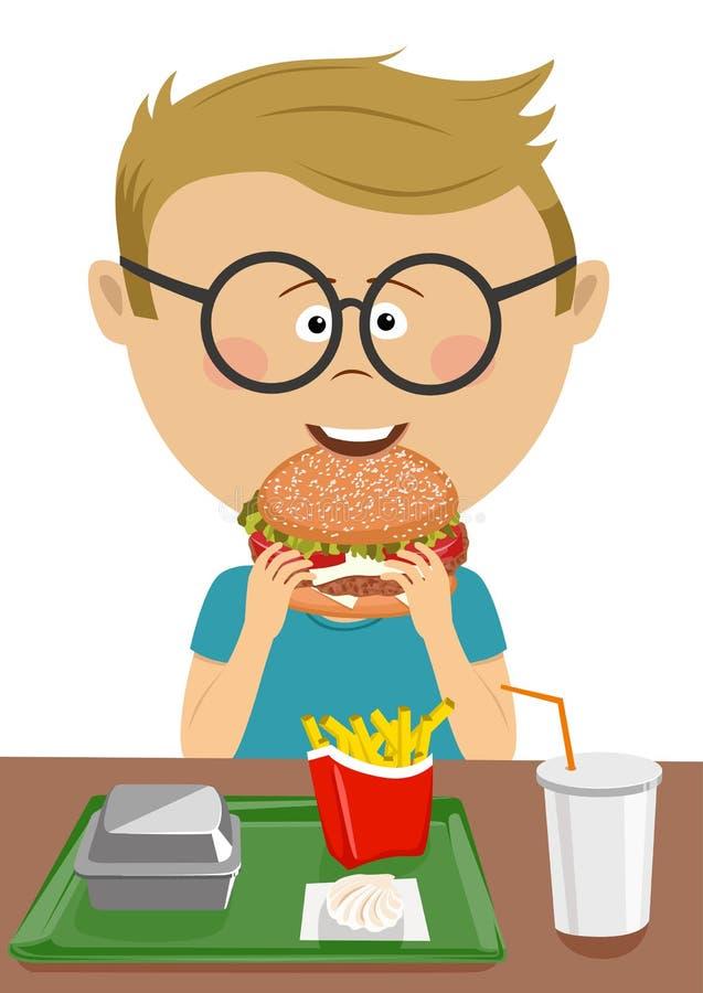 Colegial lindo que come la hamburguesa en cantina de la escuela de los alimentos de preparación rápida stock de ilustración