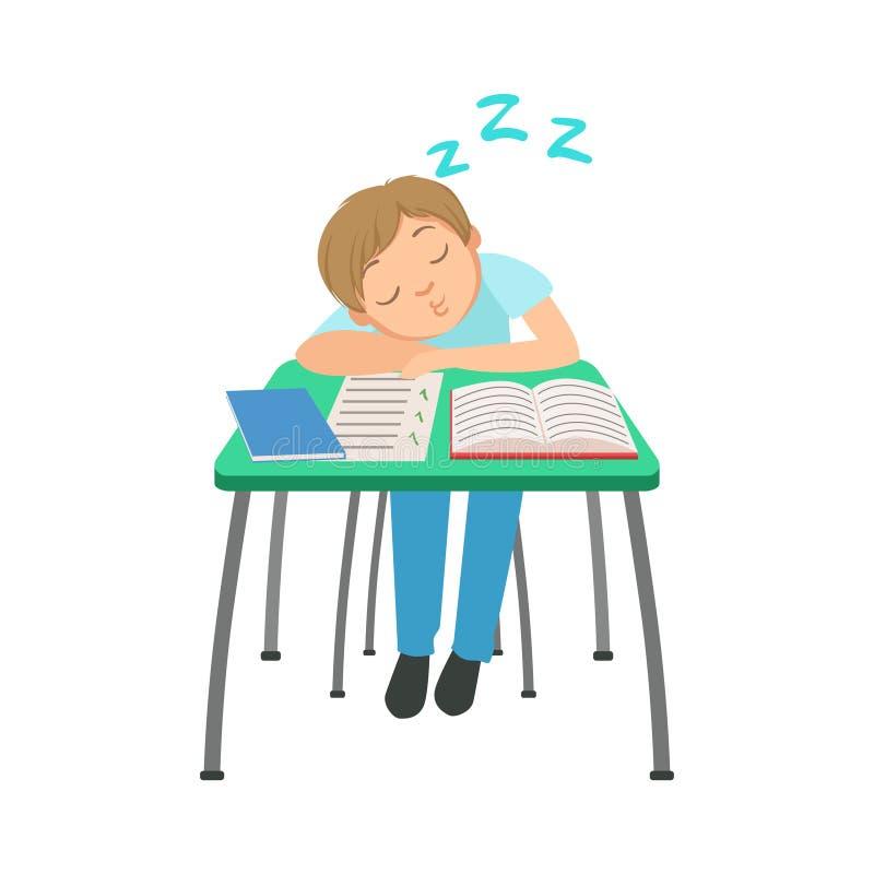 Colegial que se sienta detrás del escritorio en la clase de escuela que duerme en el ejemplo de los cuadernos, parte de escolares ilustración del vector