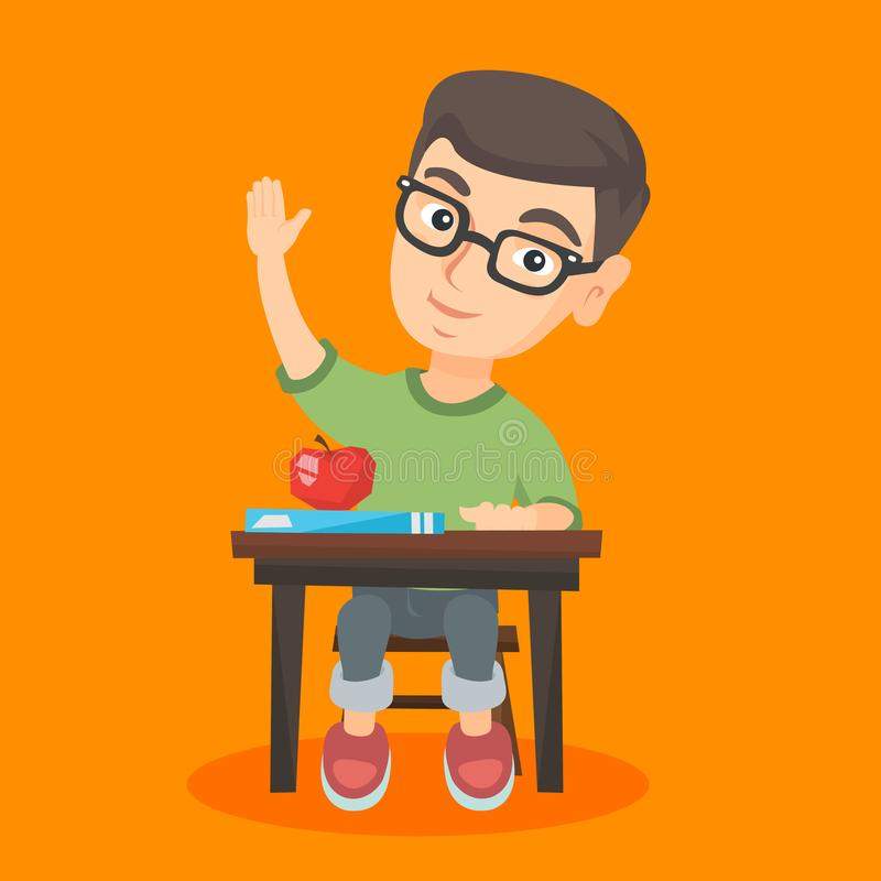Colegial que se sienta en el escritorio con la mano aumentada ilustración del vector