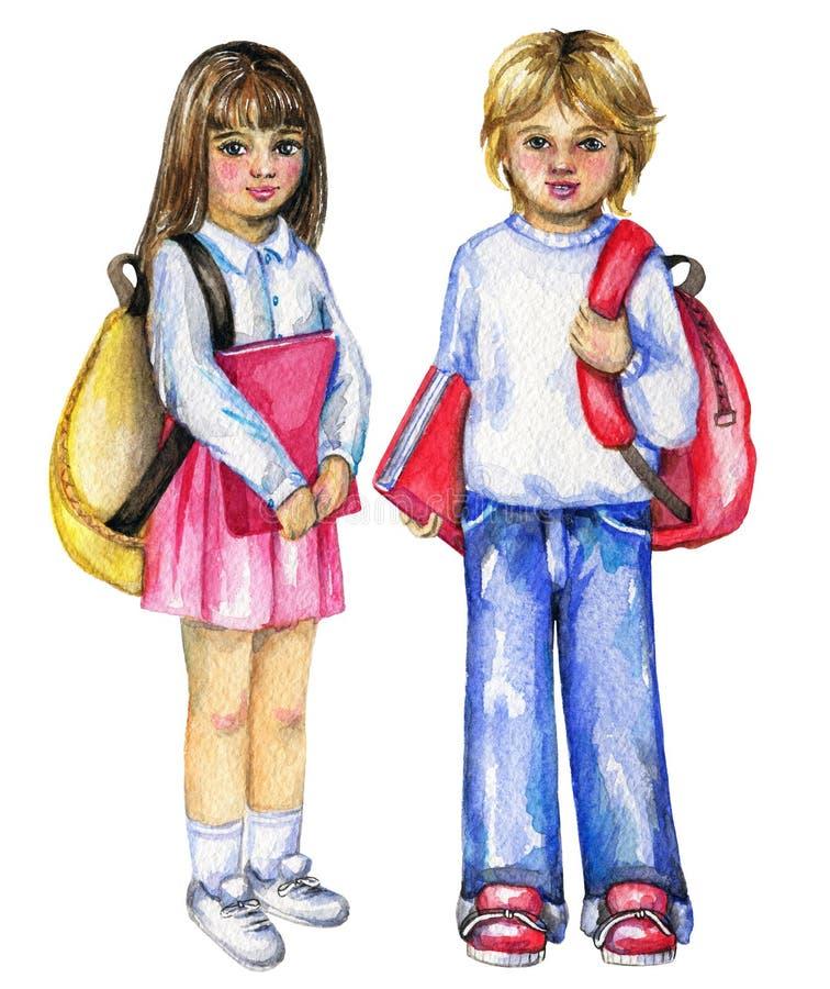 Colegial y colegiala de la acuarela con las carteras y los libros ilustración del vector