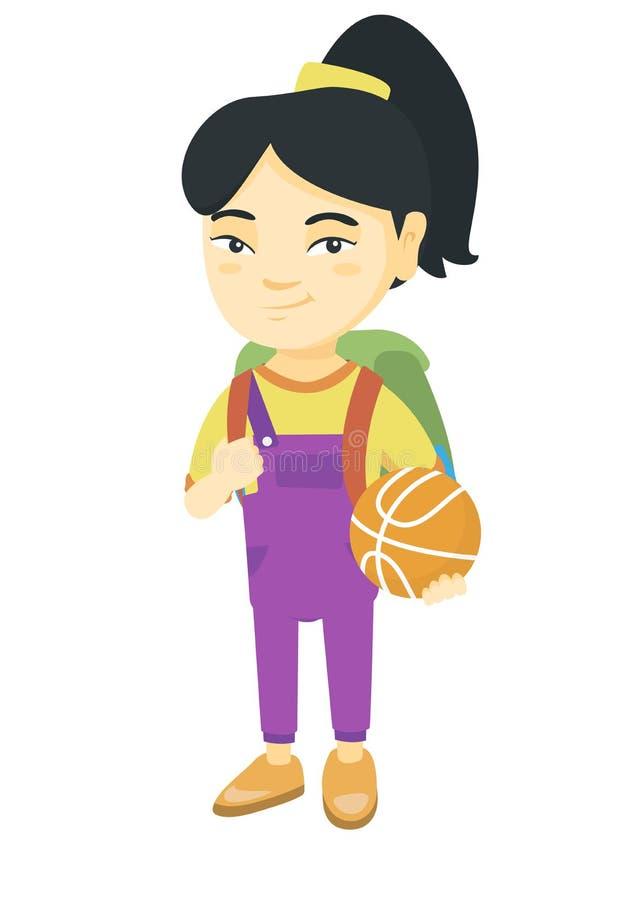 Colegiala con la mochila que lleva a cabo un baloncesto stock de ilustración