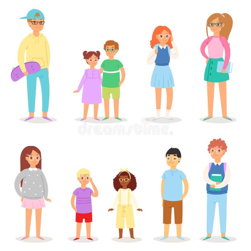 Colegiala del colegial del carácter de los niños del vector de los vidrios de los niños en el sistema del ejemplo de las gafas de ilustración del vector