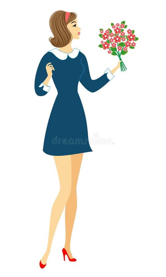 Colegiala joven con las flores La muchacha es muy bonita, ella tiene un buen humor, una sonrisa La se?ora dar? el ramo al profeso stock de ilustración