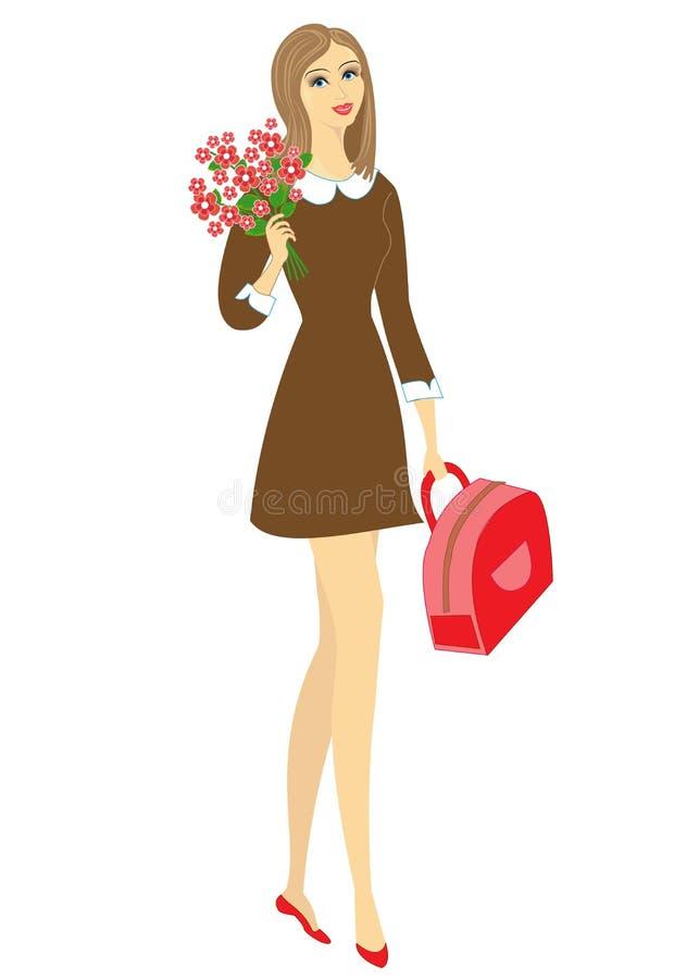 Colegiala joven con las flores La muchacha es muy bonita, ella tiene un buen humor, una sonrisa La se?ora dar? el ramo al profeso libre illustration